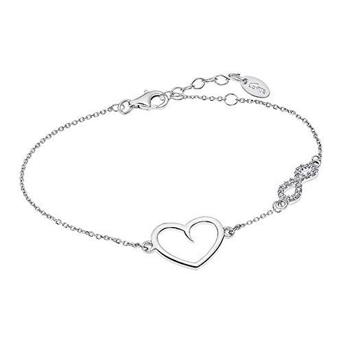 Lotus Silver Pulsera de plata 925 con corazón infinito, LP1819-2/1 con circonitas