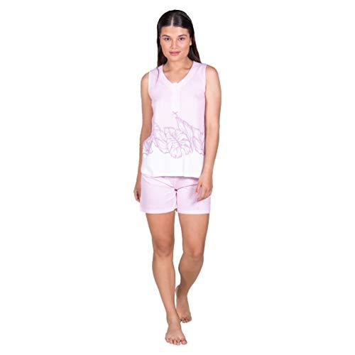 Egatex Pijama de Mujer de algodón de Topos 211427 - Rosa, XXL