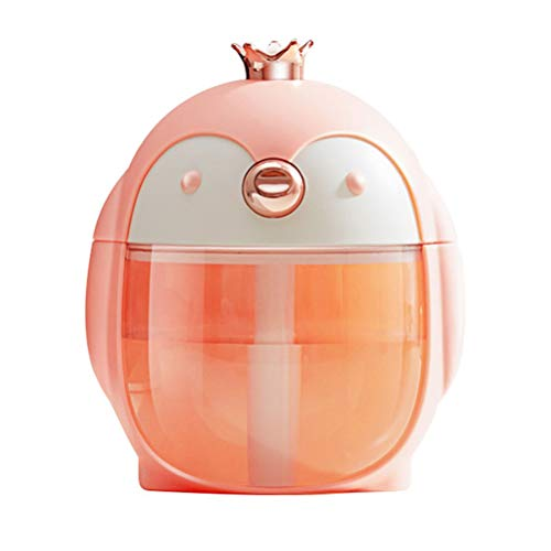 Aromatherapy Essential Oil Humidifier Protable Cute Penguin 300ml Traval Essential Oils Diffuser,Auto Shut-off 7 Color LED Lights for Study Bedroom Office,Gifts for Women Girlfriend Teen Girls (Pink)
