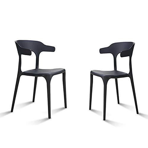 DHR- Chaise de salle à manger en PP (ensemble de 2) Chaise en plastique de salon empilable Cuisine, chaise de café avec accoudoirs Chaise Casual/dossier Confort/for patio extérieur Barstools & Tab