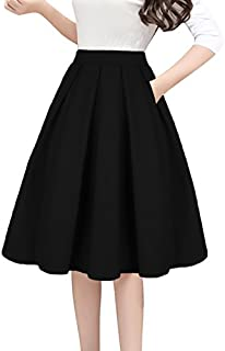 Tandisk Women's Vintage A-line Printed Pleated Flared Midi Skirts with Pockets