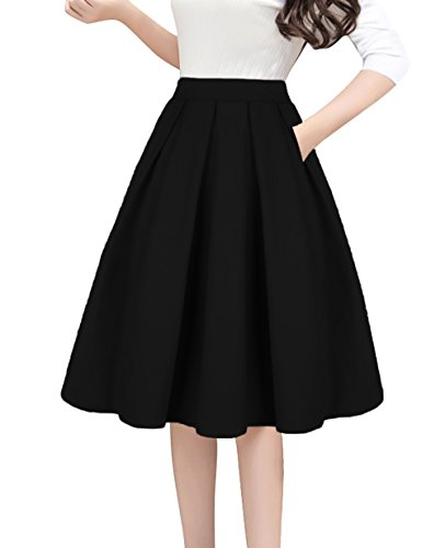 100% Cotton, Breathable, Soft Comfortable to your skin. High Waist Elastic Waist,Inverted pleat style,Zip-back fastening,Side Pockets Pleated Feminine design for Retro skirt, You can wear the prom skirt in any occasion - work, school, office, dates,w...