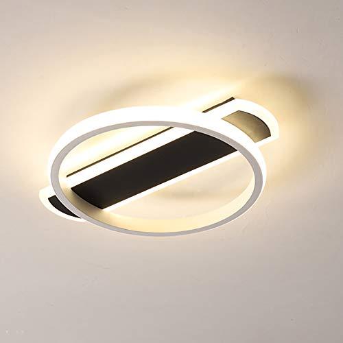 Lámpara De Techo Redonda LED Luz De Techo Moderna Para Pasillo Dormitorio Sala De Estar Iluminación De Techo Blanco Negro 21W,White light