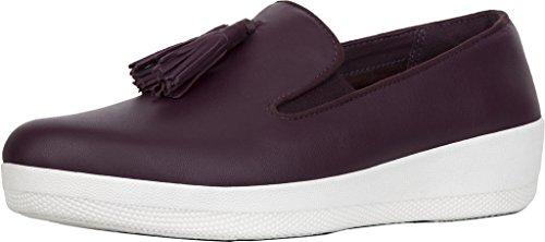 FitFlop Womens Tassel Superskate Slip On Loafer Shoes, Deep Plum, US 10