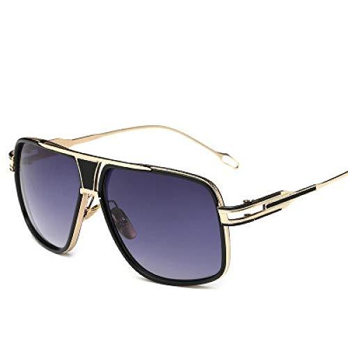 Moda Gafas De Sol Steampunk para Hombres Y Mujeres, Gafas De Sol Vintage con Cara Grande, Gafas De Sol De Gran Tamaño para Hombre Y Mujer, Gradiente Dorado