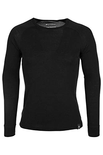 Mountain Warehouse Camiseta térmica interior de lana merina con manga larga para hombre - Camiseta ligera, camiseta antibacteriana de secado rápido, Invierno Negro M