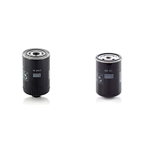 Original MANN-FILTER Ölfilter W 940/5 – Hydraulikfilter – Für PKW und Nutzfahrzeuge & Kraftstofffilter WK 731 – Für PKW