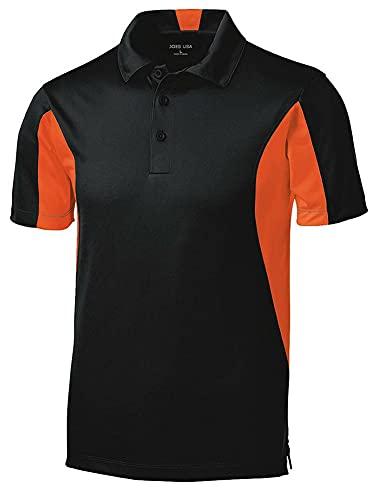 Joe's USA Moisture Wicking Side Blocked Micropique Polo-Black/Orange-2XL