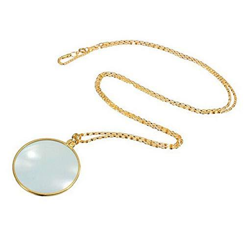 Collar decorativo monóculo con lupa 6x lupa colgante collar de cadena para mujer joyería (oro) ESjasnyfall
