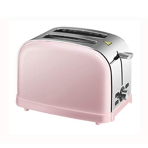 Tostadora para 2 Rebanada, tostadora de Acero Inoxidable de 850 W con 7 Modos de horneado, Ranuras Anchas, Bandeja de recogemigas (Rosa)