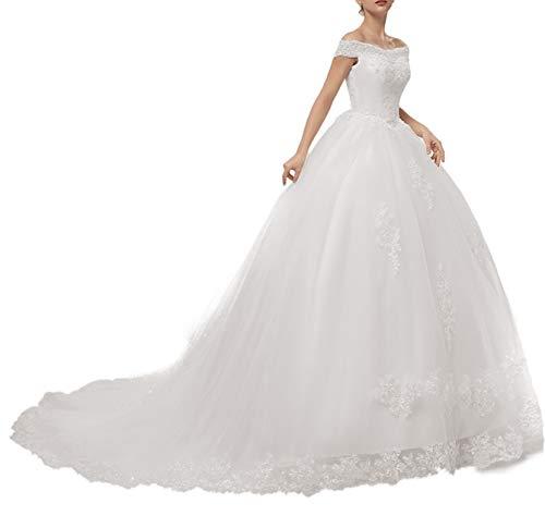Brautkleider Damen Lang Hochzeitskleid Spitzen Prinzessin Brautmode A-Linie Tüll Standesamtkleider Schnürung Elfenbein 58