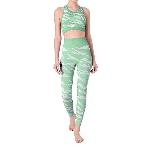 KUDICO Womens Mesh Splicing High Waist Camouflag Tight Hip Lift Tummy Control Yoga Pants with Sleeveless Cropped Tank Green