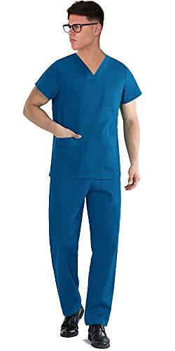 TCD Ricamo Gratuito Divisa Sanitaria Infermiere Casacca e Pantalone | Completo Medicale Unisex Uomo Donna | OSS Ospedale Estetista Veterinario Dentista | 100% Cotone (XXXL, Blu Royal Ricamo Si)