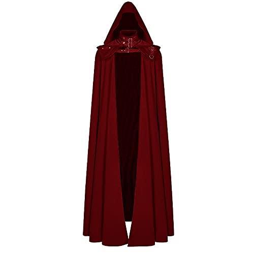 CNLINAHOME Capa con Capucha Medieval Abrigo gótico Trincheras largas Capa de Mago del Diablo de Halloween Capa de túnica Red-XL