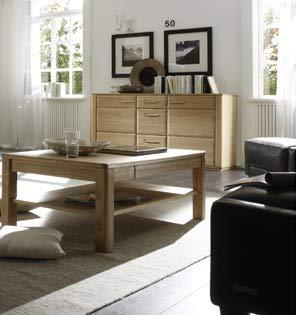 Couchtisch Anriel Tisch m. Stauraum, Eiche Bianco furniert, 115x42x65cm Wohnzimmertisch mit Schubkasten und Ablageboden Sofatisch Beistelltisch