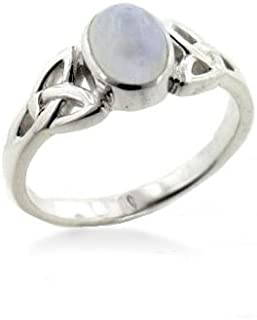 Sterling Silver Celtic Knot and Genuine Rainbow Moonstone Ring(Sizes 3,4,5,6,7,8,9,10,11,12,13,14,15)