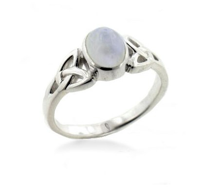 Sterling Silver Celtic Knot and Genuine Rainbow Moonstone Ring Size 7(Sizes 4,5,6,7,8,9,10,11,12,13,14,15)