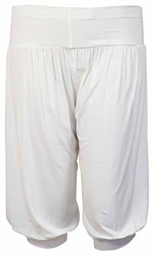 Preisvergleich Produktbild Pluderhose / Baggy Pants für Damen,  kurz,  elastisch,  große Größen,  einfarbig Gr. 52,  weiß