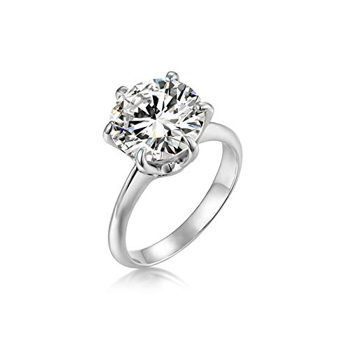 Aimsie Women's Ring Six Claws Gold Ring Ladies 14 Carat (585) White Gold with Moissanite Gold Ring Real Gold Rings Wedding Silver 14 carat white gold