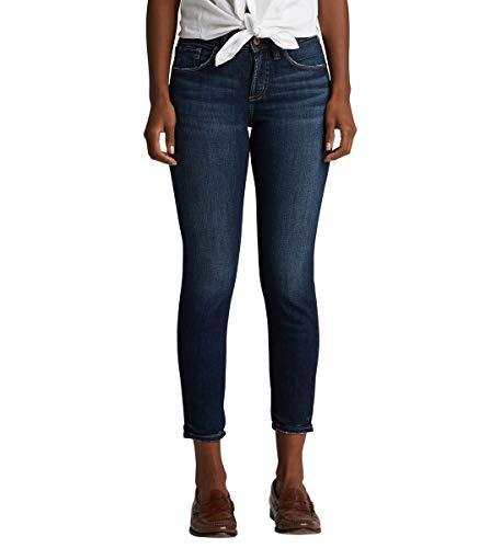 Silver Jeans Co. Women's Avery Curvy-fit High Rise Skinny Crop, Dark Wash, 29W x 25L