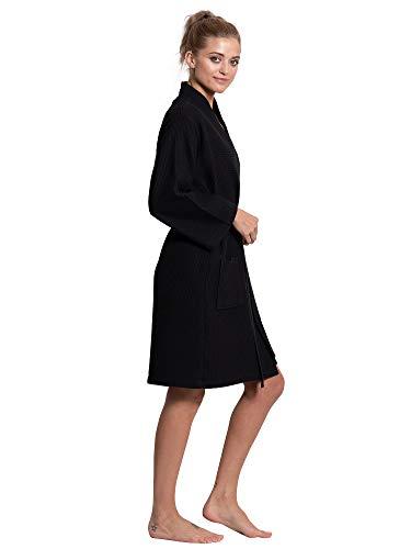 Turkuoise-Linen-Lightweight-Knee-Length-Waffle-Kimono-Bath-and-Spa-Robe