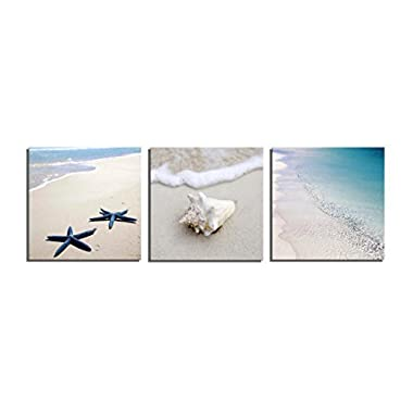Yang Hong Yu Canvas Prints Seaside Beach Photos on Canvas Wall Art Stretched and Framed Modern Decor Paintings Giclee Artwork for Home Decoration 30x30cm