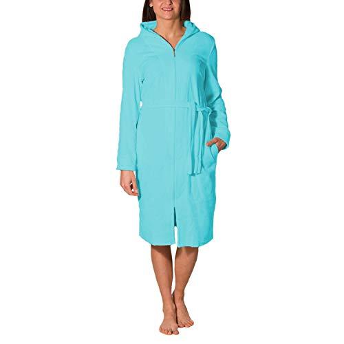 Aquarti Damen Bademantel mit Reißverschluss Lang, Farbe: Türkis, Größe: L