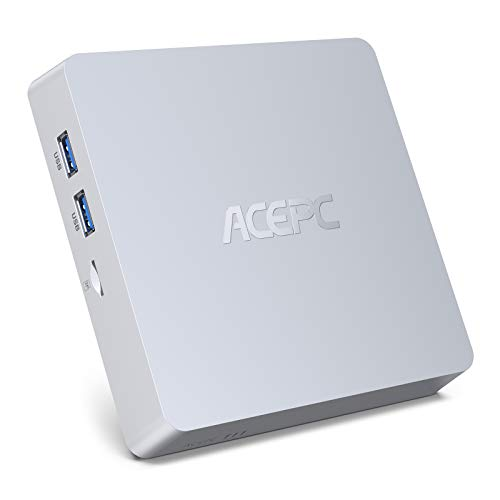 ACEPC Mini PC, Windows 10 Pro 8GB DDR3 / 128GB eMMC Intel Atom Z8350 Mini computadora de Escritorio sin Ventilador con 4K HD, Salida HDMI + VGA, WiFi 2.4G / 5G, Gigabit Ethernet, BT 4.2