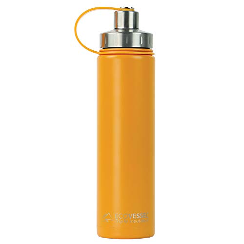 EcoVessel BOULDER TriMax Vacuum Insulated Stainless Steel Water Bottle with Versatile Stainless Steel Top and Tea, Fruit, Ice Strainer - 24 ounce - Mystic Mango