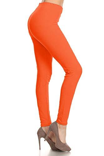 EP128-3X5X-Orange Basic Solid Leggings, 3X5X