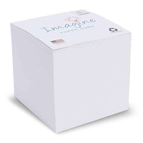 EARTHCUBE Blank White 3.5 Inch Note Cube (Not Sticky) Made in USA (Paper US or CAN) 100% Recycled 700 Tear-off Pages (Not Loose) 'Imagine'