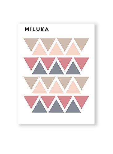 Pegatinas y Vinilos para Decoración de Pared   Triángulos   Adhesivos Decorativos Infantil   Formas Geométricas   56uds   Rosa, Azul, Mostaza (Rosa)