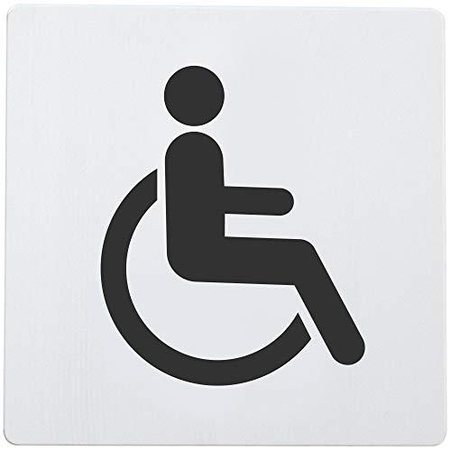 Bamodi XXL WC Schild selbstklebend - Rollstuhlfahrer Toilettenschild für Behinderte - Eindeutiges und einfach anzubringendes Toilettenschild WC Aluminium - 12,5 x 12,5 x 0,15 cm