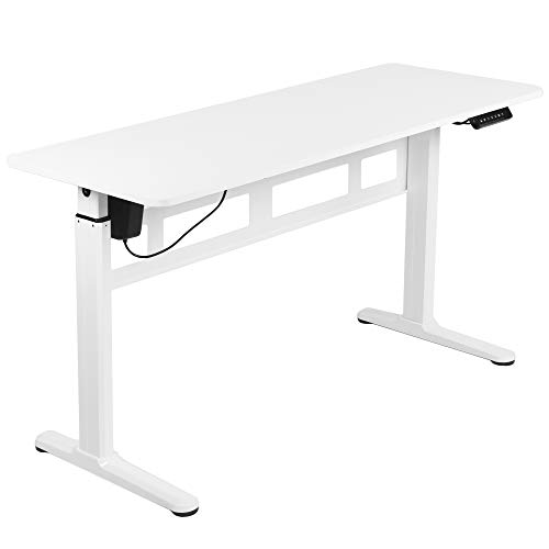 VIVO Electric 55 x 24 inch Stand Up Desk, Complete Height Adjustable Standing Workstation (Frame and Top) with Push Button Controller, White, DESK-E155TW