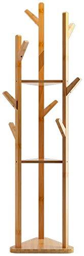 YLCJ Bamboo kapstok met drie kledingkasten voor deuren in huis (kleur: zwart, maat: 170 & Volt; 38 cm)