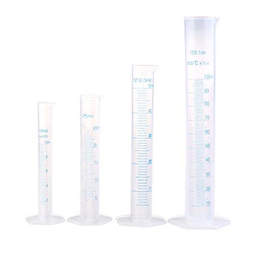 WINOMO Pack di 4 cilindro trasparente misura plastica laureato 10 25ml 50ml 100ml