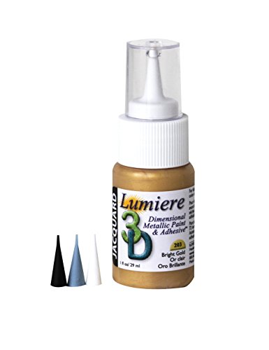 "Jacquard JDP0203 Lumiere Washable 3D Adhesive and Dimensional Paint, 1 oz. Bottle, 1.5"" Height, 4"" Width, 7.75"" Length, Bright Gold"