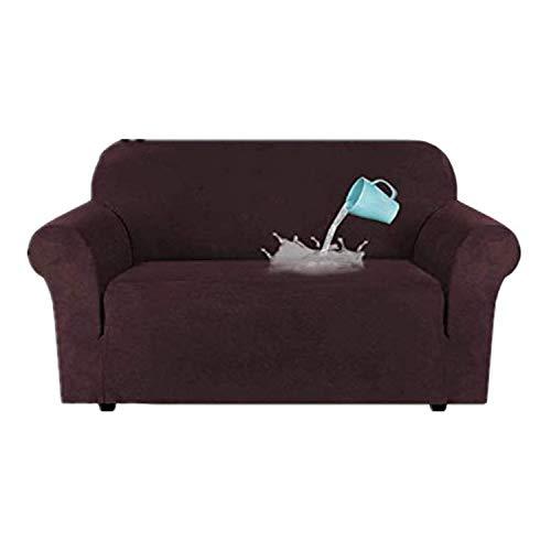 TIUTIU High Stretch Velvet Plüsch Sofabezug Wasserabweisende Möbel Protector Wildleder Couch Covers, 1-4 Sitz Sofa Easy Fit Elastic Fabric Sofa Protector (Brown,2 Seater.122-172cm)