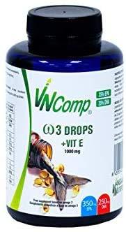 VNComp - Perlas de Omega 3 Cápsulas Aceite de Pescado, 35% EPA y 25% DHA + Vitamina E, 85gr, 60 perlas   Fish Oil, Alta Potencia, Acción Rápida, Alto Contenido en Ácidos Grasos Esenciales