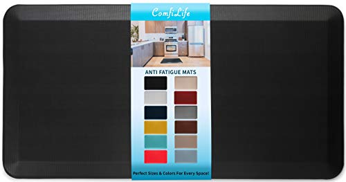 ComfiLife Anti Fatigue Floor Mat – 3/4 Inch Thick Perfect Kitchen Mat, Standing Desk Mat – Comfort at Home, Office, Garage – Durable – Stain Resistant – Non-Slip Bottom (20' x 39', Black)