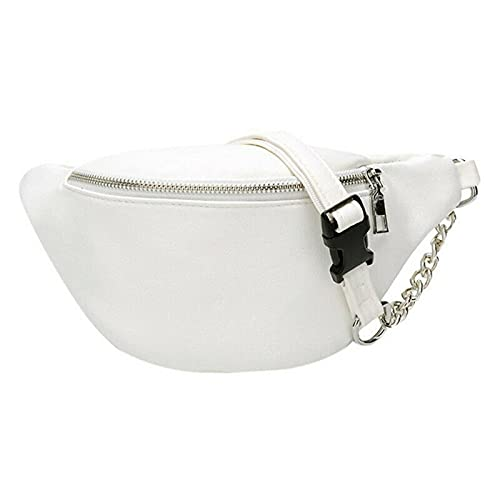 GLADMIN Fashion Bum Bag Fanny Pack Travel Cintura Festival Cinturón de Dinero PU Bolsa de Cuero Holiday (Color : White)
