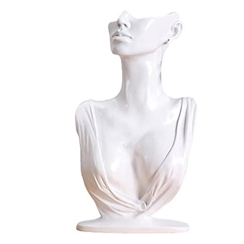 harayaa Collar, pendiente, exhibición, busto, cadena, sostenedor, joyería, maniquí para mujeres, uso personal, estable, fácil, regalo - blanco
