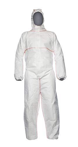 DuPont ProShield 20 SFR | Schutzanzug mit Kapuze, Kategorie III, Typ 5, 6 und EN 14116 Index 1| Weiß | Größe L, 50 Stück