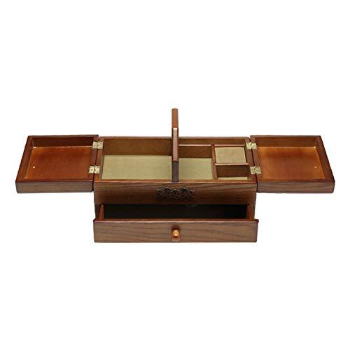 Baoblaze Caja de Almacenamiento de Cesta de Costura Vintage de Madera, Organizador para Accesorios de Kit de Costura para Abuela Mon Girl, Regalo para El Hogar