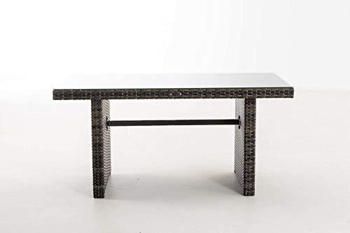 CLP Polyrattan-Gartentisch FISOLO mit Einer Tischplatte aus Glas I Wetterbeständiger Tisch aus Polyrattan Grau Meliert - 7