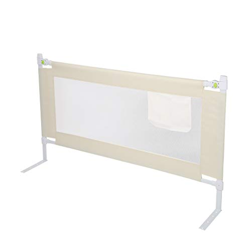 Barrera de cama plegable, 200 x 68 cm, rejilla de protección de cama para niños pequeños y niños