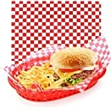TBL Red Check Food Basket 4pk with 15 Red and White Sheet Liner 15in. x 18in.