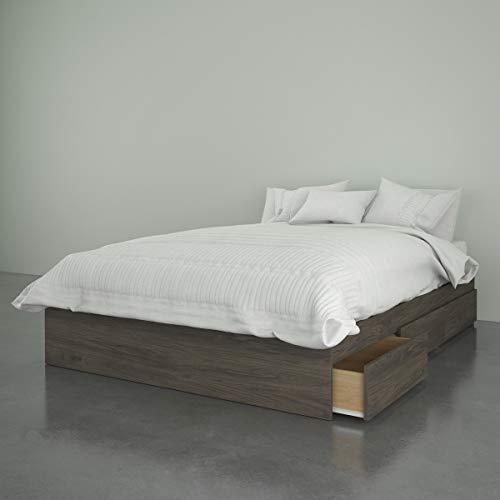 Nexera Full Size Storage Bed, 3-Drawer, Bark Grey Platform, Double, Gray