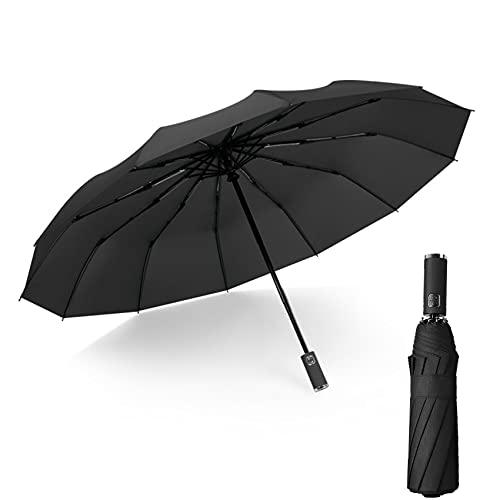 JeoPoom Paraguas Plegable Automático de Secado Rápido con Botón Automático de Apertura/Cierre Antideslizante para Hombres Mujeres, 12 Varillas Reforzadas, Diámetro 105cm(Negro)