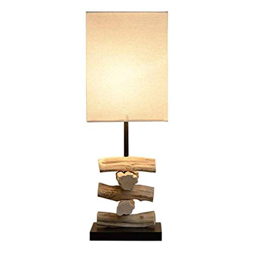 HTL Natural Art Handmade Table Lamp Rattan Wooden Bedside Lamp Living Room Bedroom Table Lamp Beige Square Linen Lamp Cover Switch Button Table Lamp Desk Lamps for Bedroom